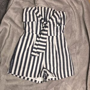 Blue and White Stripe Strapless Romper/Playsuit